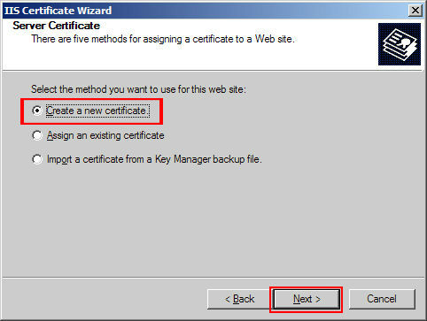 Click 'Create a new certificate' and then 'Next'