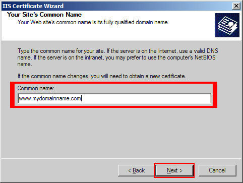 Enter the 'Common Name' (main domain secured on cert) and click 'Next'