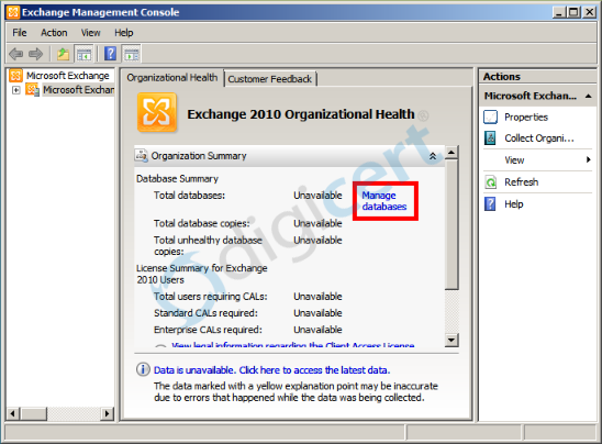 Start the Exchange Management Console from your Start menu, select 'Manage databases', then 'New Exchange Certificate' from the 'Server Configuration' menu on the left.