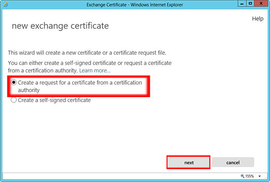 Choose 'Create a request for a certificate from a certification authority' from the 'New Exchange Certificate' wizard window.