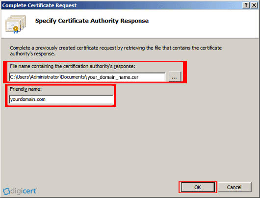 Under 'File name containing the certification authority's response,' click '…' to browse to the certificate file that you downloaded, select the file, and then, click 'Open.' Next, in the 'Friendly name' box, enter a friendly name for the certificate. The friendly name is not part of the certificate; instead, it is used to identify the certificate.
