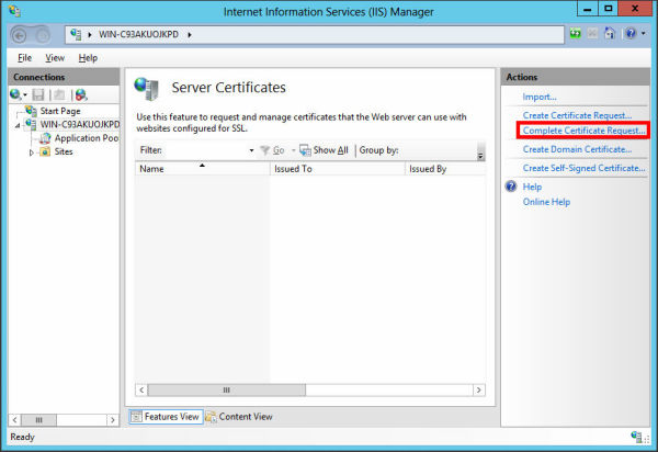 In the 'Actions' menu, click 'Complete Certificate Request' to open the Complete Request Certificate wizard.