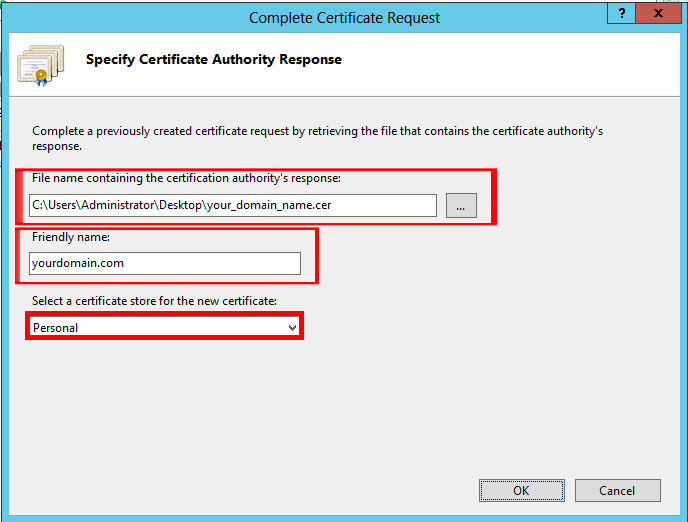 Browse to the certificate file you downloaded. You will then be required to enter a friendly name. The friendly name is not part of the certificate itself, but is used by the server administrator to easily distinguish the certificate. Choose to place the new certificate in the Personal certificate store.