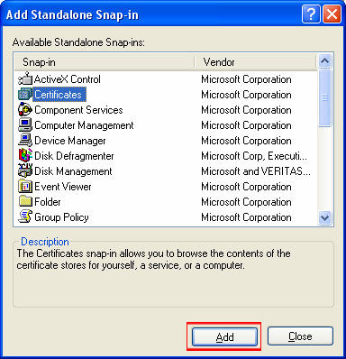 Select Certificates from the Add Standalone Snap-in box. Click Add.