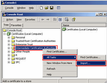 Right-click the Intermediate Certification Authorities folder. Click All Tasks > Import.