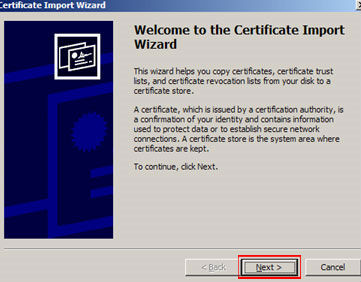 When the Certificate Import Wizard appears, click 'Next.'