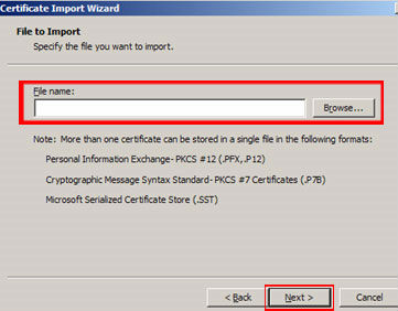 Locate the intermediate certificate(s) you saved and click 'Next.' When the Wizard is completed click 'Finish.'