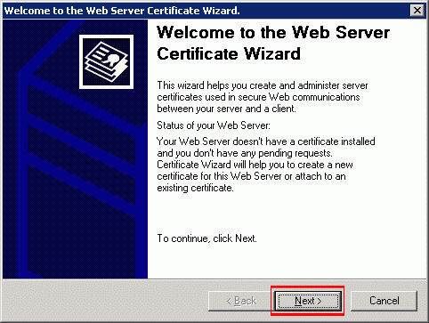 On the Web Server Certificate Wizard, click 'Next.'
