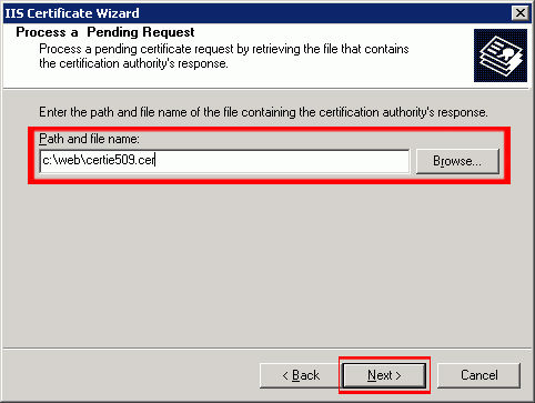 Type in the location of the certificate response file (you may also browse to the file), and then click 'Next.'
