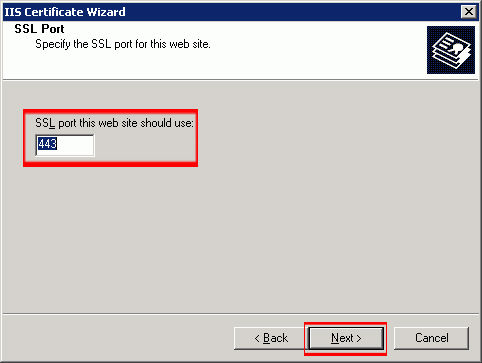 Choose which SSL port the webserver will use (default is 443) and click 'Next.'