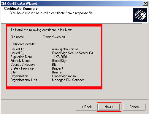 Read the summary screen to be sure that you are processing the correct certificate, and then click 'Next.'
