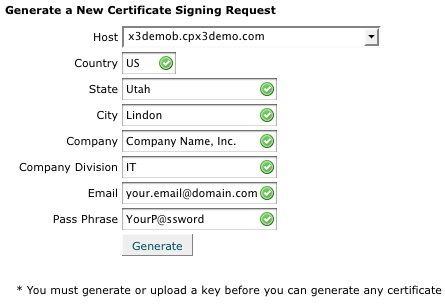 Click on 'Generate, view, or delete SSL certificate signing requests' and enter the appropriate information for your organization. Click 'Generate' and then copy and paste the CSR into your SSL request panel.