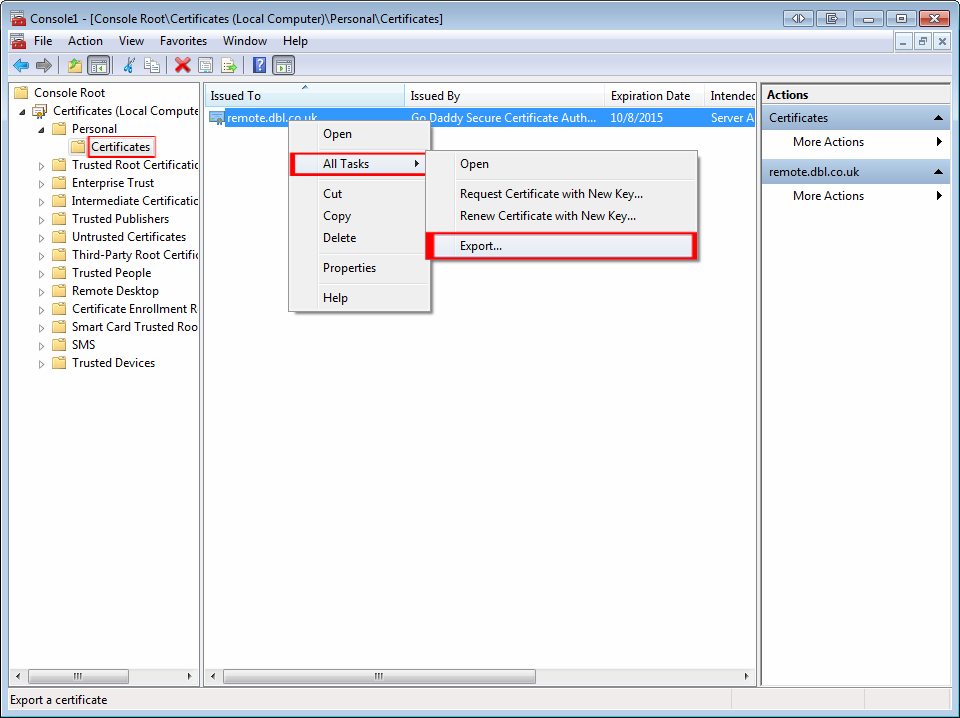 mmc console root to export step 1