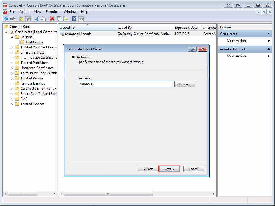 mmc export wizard file name step 6