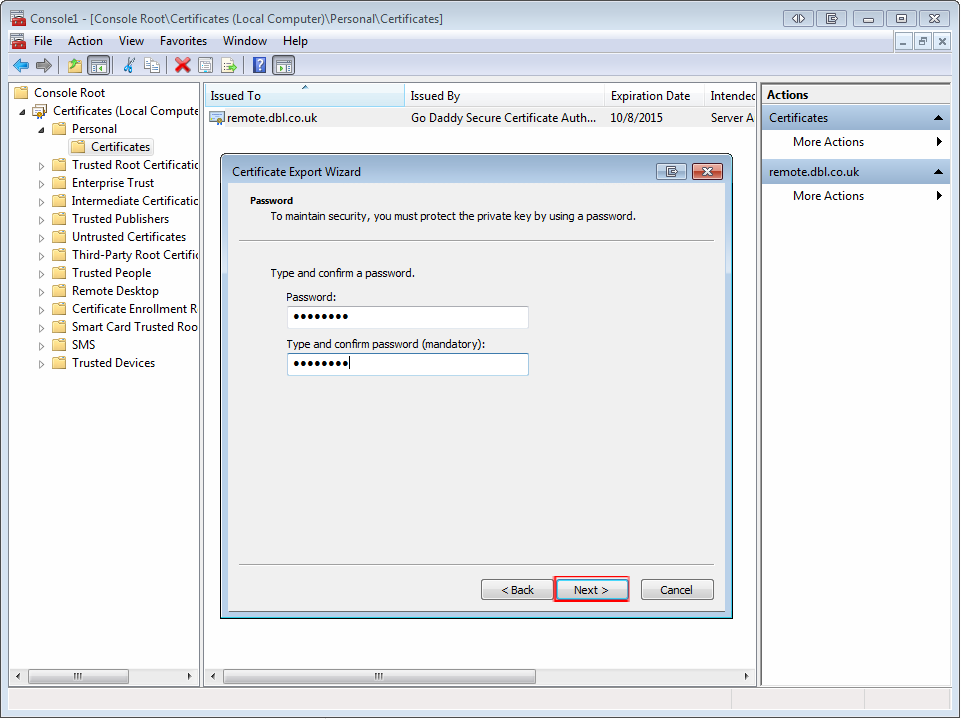 mmc export wizard password step 5